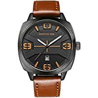 Menton Ezil Mens Tactical Watch Unique Sport Digital Analog 50M Waterproof Square Dial Big Face Watches LED Backlight Display Alarm Stopwatch Wristwatch with Black Leather Strap