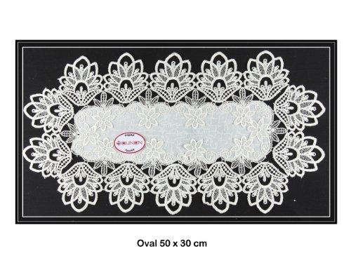Tischdecke Deckchen, Tischläufer mit Spitze von SOUNON® - Oval 50 x 30 cm (Model 003)