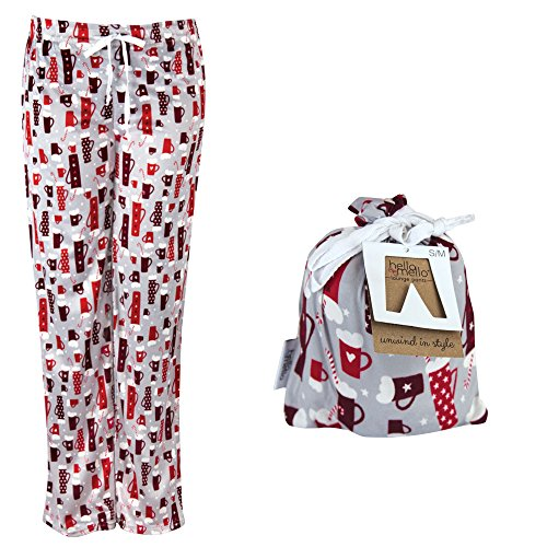 Hello Mello Holiday Lounge Pants w/ Matching Giftable Tote - Womens Sizes - Ho Ho Cocoa - (Cocoa Cotton Border)