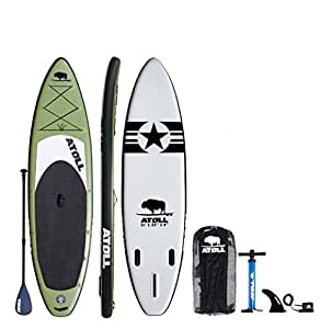"Atoll 11'0"" Foot Inflatable Stand up Paddle Board, (6 Inches Thick, 32 inches wide) ISUP, Bravo Hand Pump and 3 Piece Paddle, Travel Backpack (green)"