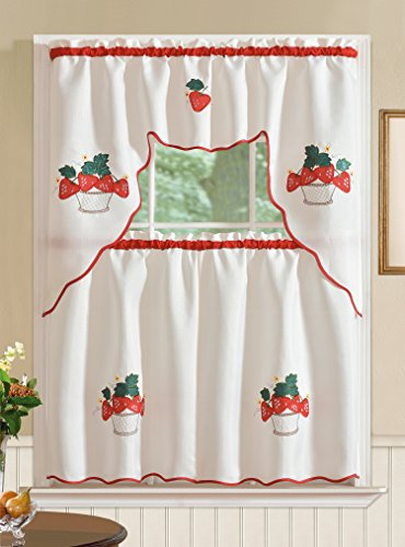 RT Designers Collection Imperial Jacquard Kitchen Curtain Set, Strawberry