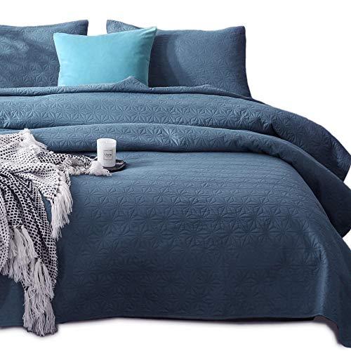 KASENTEX Coverlet Quilt Set-Pre Washed-Luxury Microfiber Soft Warm Bedding-Solid Colors Bedspread-Contemporary Design (Natural Bluestone Star, Oversized King + 2 King Shams)