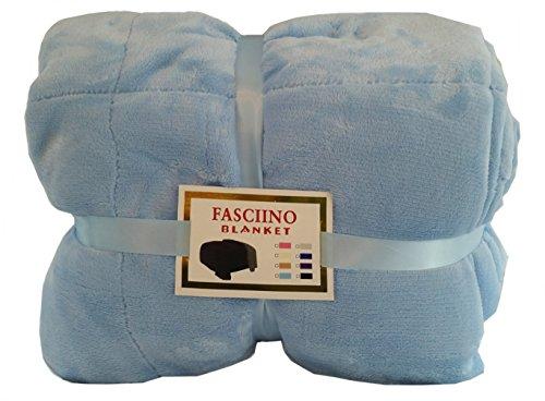 (FASCIINO Super Soft Plush Velour Mink Borrego Blanket Throw Queen or Full Size Bed (Light Blue))