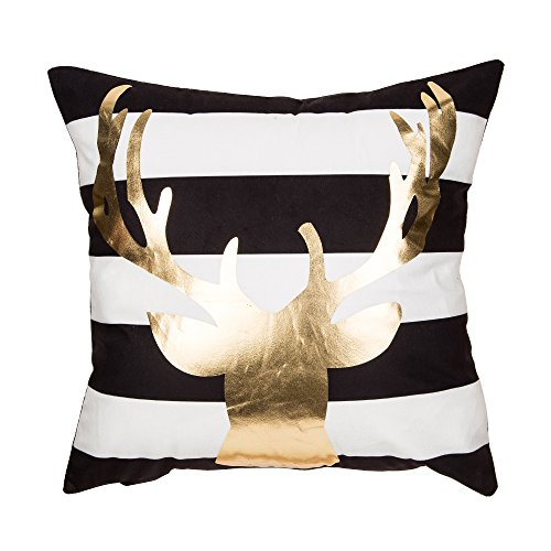 Fjfz Christmas Gold Foil Print Winter Deer Antlers Elk Cotton Linen Home Decorative Throw Pillow Case Cushion Cover for Sofa Couch,Black and White Stripe,18 x 18