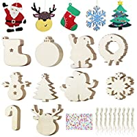 4 Styles Craft Wood Kit for Crafts Christmas Ornaments DIY Crafts with 40 Jingle Bells 2020 Newest 40Pcs Easter Christmas Wooden Ornaments Unfinished