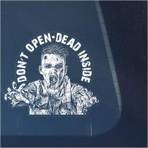 Zombie Don't Open Dead Inside Clear Vinyl Decal Sticker for Window, Sign Art Print Design -