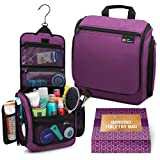 Hanging Travel Toiletry Bag for Women - Large Cosmetics, Makeup and Toiletries Organizer Kit with 19 Compartments, YKK Zippers, XXL Metal Swivel Hook, Water-Resistant Nylon