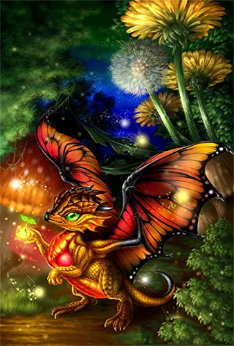 Diamond Painting Kits for Adults Full Drill - 5D Diamond Art Kits with Painting by Number Kits - Great Decor for Home,Living Room,Office,Kitchen,Shop (Dragon Fly)