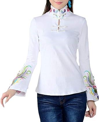 Gocgt Camisa China de Manga Corta con Bordado de Flores Finas para Mujer Blanco Blanco XX-Large: Amazon.es: Ropa y accesorios