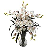 Nearly Natural 1300-WH Large Cymbidium with Vase Arrangement, White