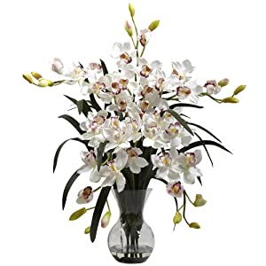 Nearly Natural 1300-WH Large Cymbidium with Vase Arrangement, White 38