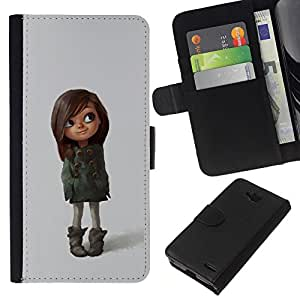 KingStore / Leather Etui en cuir / LG OPTIMUS L90 / Brown Mère Fille Kid
