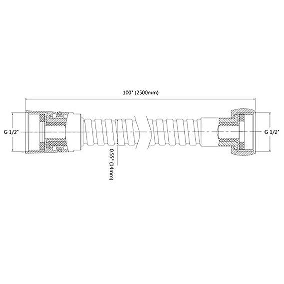 Yangge Yujum 1.5 Medidor de Acero Inoxidable Extensi/ón de ba/ño Tubo Boquilla Booster presi/ón de la Ducha Tubo Redondo Suave Accessoris