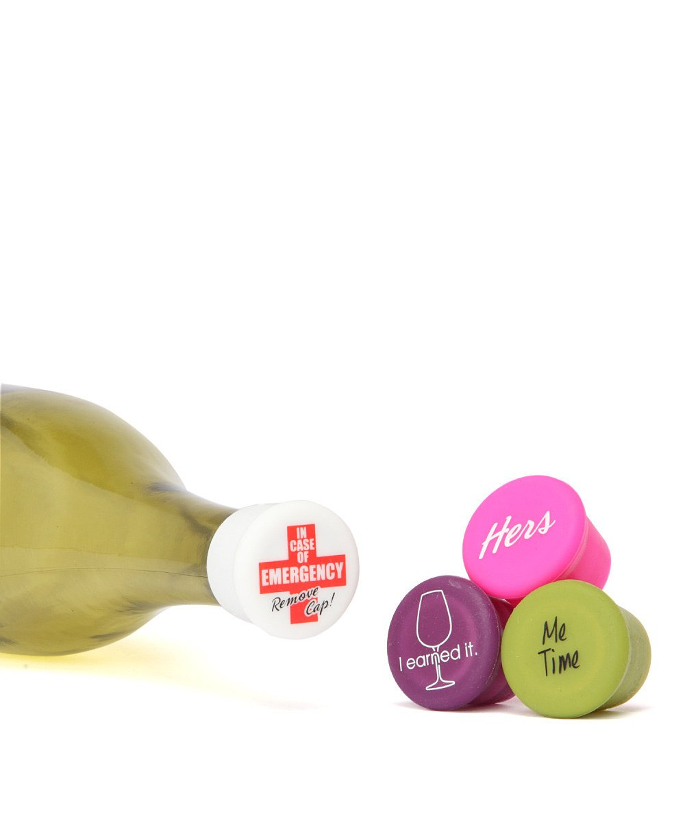 CapaBunga Wine Bottle Stopper, Set of 4, Hers, Silicone Reusable Bottle Caps