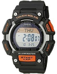 Men's STL-S110H-1ACF Tough Solar Runner Digital Black and Orange Watch