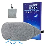 Cotton Sleep Eye Mask - 100% Light Blocking Sleeping Mask for Women, Includes Travel Pouch, Soft, Comfortable, Blindfold, 100% Handmade (Gray)