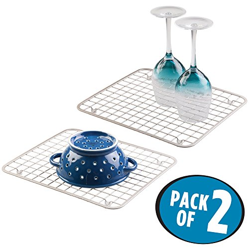 mDesign Modern Kitchen Sink Metal Dish Drying Rack/Mat - Ste