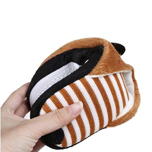 Clode® Reizender Hausschuhe Winter Karikatur-Panda / Schwein Hauptfußboden Soft Streifen Slippers Damen Schuhe Kaffee1