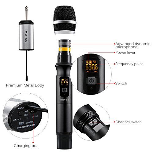 hotec-25-channel-uhf-handheld-wireless-microphone-with-mini-portable-receiver-14-output-for-churchhomekaraokebusiness-meeting-black