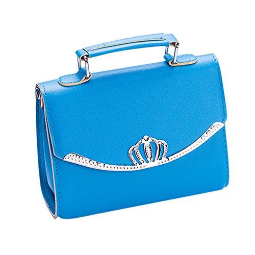 Espeedy Nueva moda de las mujeres de pan de corona de bolsos de bolsos populares Mini bolsa de hombro femenino bolsa de mensajero lindo azul