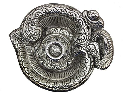 Govinda - Tibetan OM Shaped Cone Burner - 5 Inch Long (Incense Silver Burner)