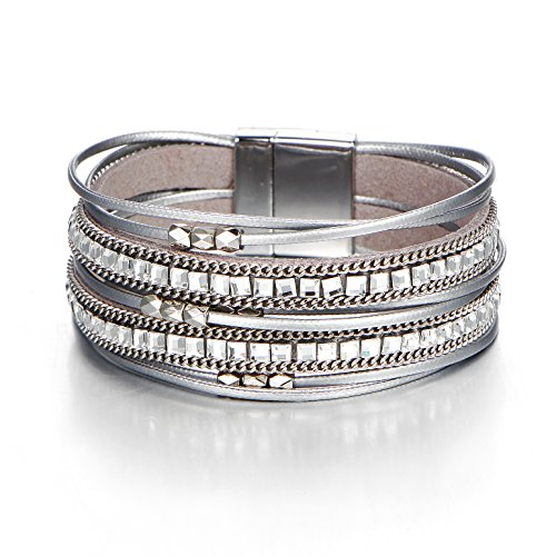 (FINETOO Grey Wrist Wrap Around Crystal Rhinestone Leather Boho Multilayer Bead Bracelet Gifts for Women and Girls)