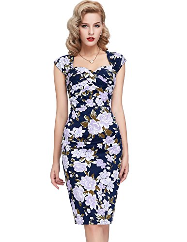 Floral Vestido Belle 3 Bodycon Esbelto Elástico Espalda Lápiz Vestido Mangas Sin Hueco Poque® Vestido y Retro U66xpI