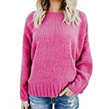 Wobuoke Womens Fashion Backless Sweater Casual Crew Neck Knitted Loose Long Sleeve Pullover