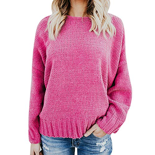 (iDWZA Women's Casual Fashion Pure V-Neck Bare-Backed Knitted Pullover Sweater(L,Hot Pink))