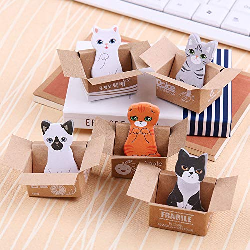 Max Corner Mini Cute Dog Cat Sticky Novelty Note Page Flag Index Sticker Bookmark Pastel Memo Pad Marker Student Women Office School Stationery Supplies 5 Pcs/Set ()