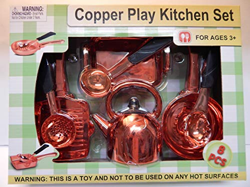 Copper Toy Pots and Pans Play Kitchen Set Play Copper Pots and Pans Toys for Kids - Kitchen Playset Pretend Copper Cookware Mini Cooking Utensils Development Toys for Children (8 Pieces) (Best Copper Cookware For The Money)