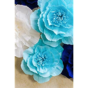 Paper Flower Decorations, Giant Paper Flowers (Navy Blue, Light Blue, White, Set of 7), Large Paper Flowers, Crepe Paper Flowers for Wedding, Nursery Wall Decoration, Baby Shower, Bridal Shower 3