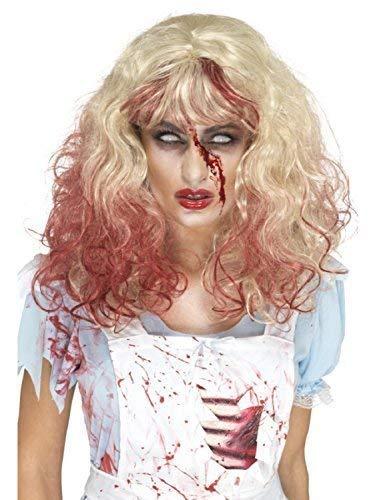 Ladies Blonde Wavy Bloody Zombie Alice Creepy Evil Scary Halloween Fancy Dress Costume Wig ()