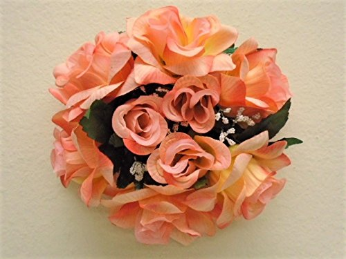 2 Candle Rings PEACH Roses Center Pieces Artificial Velvet Flowers (Peach Pillar Candle)