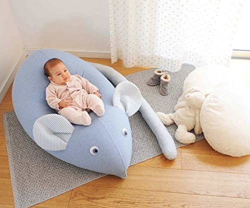 Huge Mouse Beanbag pillow, baby beanbag, floor pillow, kids beanbag pouf- Blue jeans by Pockets Baby & kids