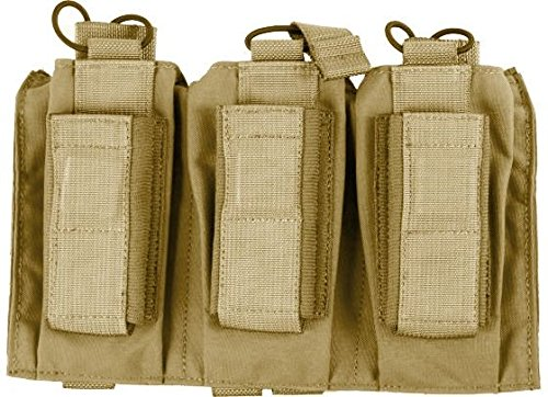 Enhanced Pistol Mag Pouch - Tactical Assault Gear MOLLE Shingle/Pistol Enhanced 3 Magazine Pouch, Coyote Tan