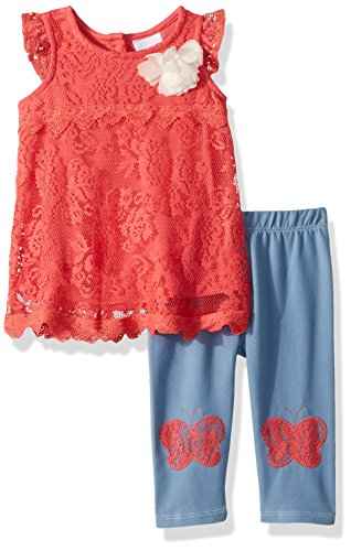 Nannette Baby Girls 2 Piece Lace Capri Set, Coral, 24M (Baby Capri Clothes Girls)