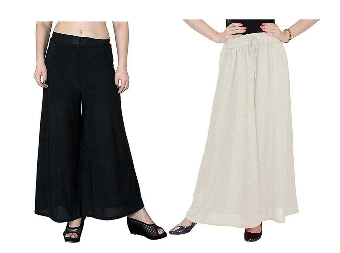 Buy Eleque Crafts Regular Fit Women Black And White Rayon Trousers Palazzo Free Size At Amazon In The measurements on the size chart are body measurements. amazon in