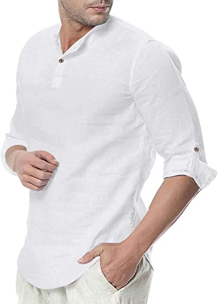 Sylar Camisas De Hombre Manga Larga Camisa Hombre Cuello Mao Camisa Hombre Color Sólido Slim Fit Camisetas De Hombre Manga Larga Otoño Casual Camisa Hombre 3/4 Manga Tops De Blusa para Hombre: