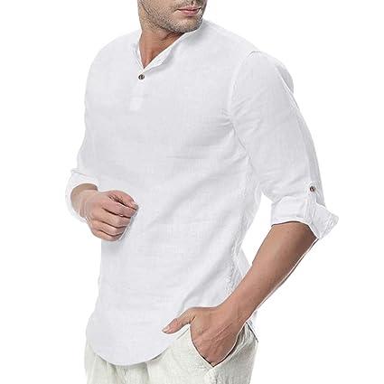 ღLILICATღ Camisa Hombre Cuello Mao Lino Blusa Manga 3/4 Camisas ...
