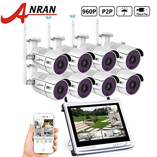 ANRAN 8CH 960P HD Wireless Security Camera System with 4pcs 1.3 Megapixel Wireless Indoor/Outdoor Superior Night Vision Bullet IP Cameras + 12