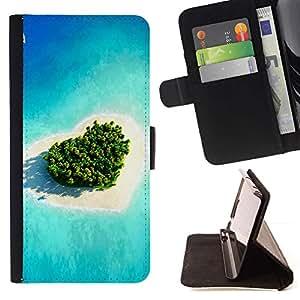 Momo Phone Case / Flip Funda de Cuero Case Cover - Isla del amor del corazón;;;;;;;; - Samsung Galaxy S4 IV I9500