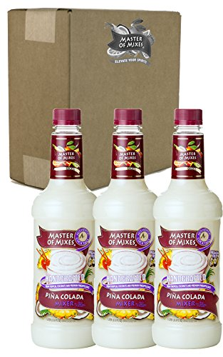 Master of Mixes Pina Colada Drink Mix, Ready To Use, 1 Liter Bottle (33.8 Fl Oz), Pack of 3 -