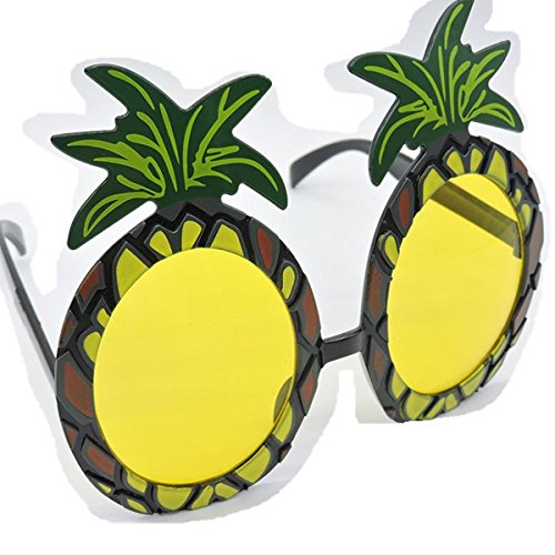 Eshylala Pineapple Sun Glasses for Hawaiian Fancy Dress Costume Party Specs Accessory - Funny Beach Themed Costumes