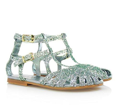 TWIN-SET - Silberne Sandale aus Leder, komplett dekoriert mit Strass, doppelte Schnallenverschluss, Mädchen