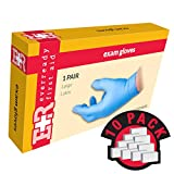 Ever Ready First Aid Exam Gloves, Nitrile Powder Free, Large, 2 Pairs, in Wallet, 10 Count