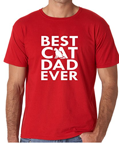 CBTWear Best Cat Dad Ever - Funny Cat Shirt, Dad Tee, Mens Cat Tshirt, Gift for Cat Lovers, Gift for Cat Owner Men's T-Shirt (XX-Large, Red) (Personalized Dad Shirts)