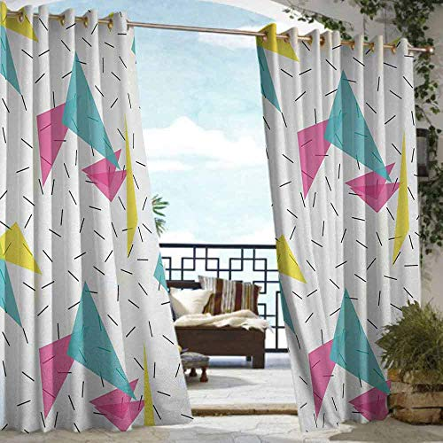 S Brave Sky Abstract Outdoor Curtain Waterproof Memphis Style Modern Kitsch Geometric Forms with Lines Colorful Triangles Graphic Outdoor Curtain for Patio Furniture Multicolor (Memphis Furniture Patio)