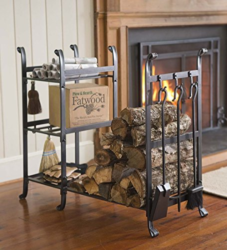Plow & Hearth All-in-One Wood Rack with Tools, Black (All In One Wood Rack)