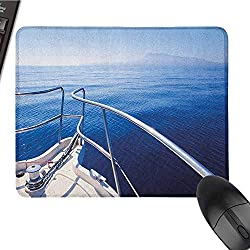 Navy Patterned Mouse pad Boat Show Ocean Sea Life with Ship Yacht Landscape of Islands Image Photo Easy to Clean and Maintain W15.7 x L23.6 x H0.8 Inch Navy Blue and White